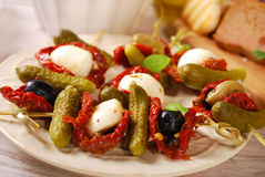 Antipasti skewers Royalty Free Stock Photo