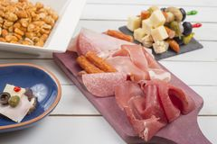 Antipasti starters with bresaola Stock Images