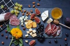 Antipastimatmörker - blått sänker lägger med muttrar, honung, kurerat kött, salami, ostar, druvor och fikonträd royaltyfria foton