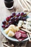 Antipasto με το τυρί, το λουκάνικο και το σταφύλι Στοκ Εικόνα