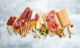Antipasto background. Variety of Italian snacks stock photo