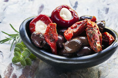 Antipasto in Black Bowl Royalty Free Stock Image