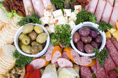 Antipasto catering platter Royalty Free Stock Images
