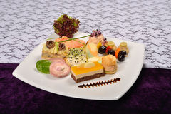 Antipasto and catering platter with different appetizers(fruits, Stock Photo