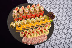 Antipasto and catering platter with different appetizers, restau Stock Photos