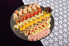 Antipasto and catering platter with different appetizers, restau Stock Image