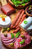 Antipasto catering platter with meat and cheese products Royalty Free Stock Image