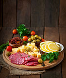 Antipasto catering platter with salami and cheese Royalty Free Stock Photo