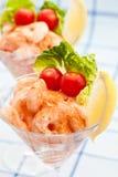 Antipasto del cocktail del gamberetto con i piccoli pomodori Fotografie Stock