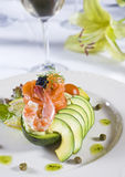 Antipasto dell'insalata del gambero a la carte Fotografia Stock Libera da Diritti