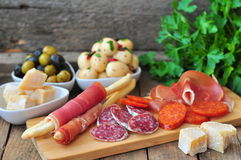 Antipasto, egg, olives, chesse, parma various appetizer food traditional Royalty Free Stock Photo
