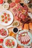 Antipasto food. Table full of antipasto or tapas, appetizer food Stock Photo
