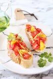 Antipasto italiano Bruschetta con i pomodori e l'olio d'oliva fotografie stock libere da diritti