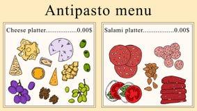 Antipasto menu projekt chłopiec kreskówka zawodzący ilustracyjny mały wektor royalty ilustracja