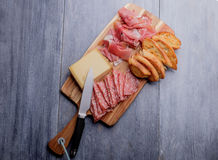 Antipasto plate with cheese Stock Images
