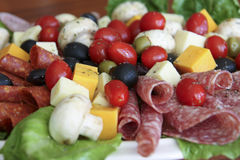 Antipasto Platter. With various meats, cheeses, and vegetables Stock Images