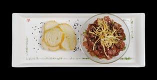 Antipasto: Sgombro grezzo con il Baguette immagine stock