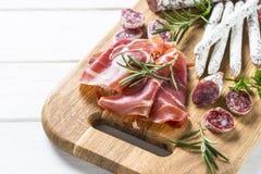 Antipasto - sliced meat, ham, salami, olives royalty free stock photos