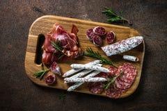 Antipasto - sliced meat, ham, salami top view. stock images