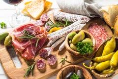 Antipasto - sliced meat, jamon, salami, olives stock image