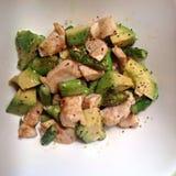 Antipasto veloce della padella dell'avocado dell'asparago del pollo Fotografia Stock Libera da Diritti