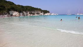 Landscape of Voutoumi beach Antipaxos Ionian islands Greece stock video