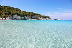 Landscape of Voutoumi beach at Antipaxos island Greece Stock Photography
