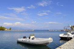 Antipaxos harbour motorboats Royalty Free Stock Images