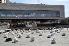 Antipersonnel obstacles in front of the barricades. The photo was taken April 18, 2014. Pro-russian separatists seized a government building in Donetsk and stock photography