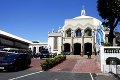 Facade and entrance of the Antipolo Cathedral. ANTIPOLO CITY, PHILIPPINES – JUNE 18, 2019: Facade and entrance of the Antipolo Cathedral or the Our Lady royalty free stock photo