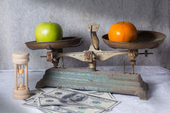 Antiqe business tools with fruit. Royalty Free Stock Photos