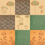 Antiqe child garden book end paper patterns Royalty Free Stock Photography