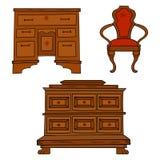 Antiqu家具设置了-古色古香的局,桌,在白色隔绝的椅子 库存图片
