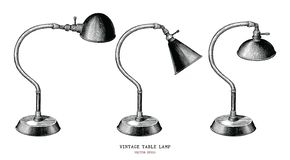 Antiqu för gravyr för tappning för attraktion för hand för samling för tappningtabelllampa stock illustrationer