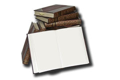 Antiquarian Books. A set of ancient books with an open and blank Royalty Free Stock Photo