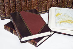 Antiquarian Books. A view of an encyclopedia of old books in good condition Stock Photo