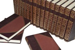 Antiquarian Books. A view of an encyclopedia of old books in good condition Stock Image