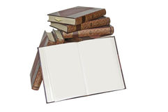 Antiquarian Books. This image shows a collection of old books, stacked with open, showing a blank page Royalty Free Stock Photography