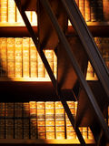 Antiquarian books. Collection of old books in bookshelf stock photography