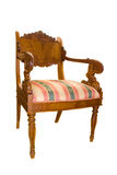 Antiquarian chair. Ancient wooden chair with soft sitting on a white background Stock Images