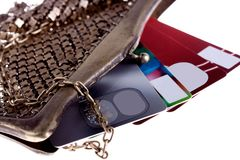 Wallet with credit cards. Antiquarian purse with credit cards Visa and Mastercard Royalty Free Stock Photos