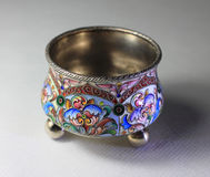 Antiquarian saltcellar. Silver antiquarian saltcellar with enamel Royalty Free Stock Photography