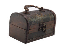 Antiquarian small wooden chest Royalty Free Stock Images