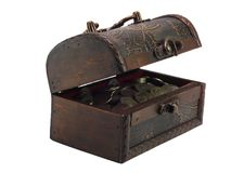 The antiquarian, wooden  opened chest with coins Stock Image