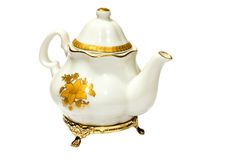 Antiquary tea port. Series: object on white: dish - antiquary tea port Royalty Free Stock Images