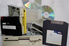 Old PC storage media - technical development. Antiquated storage media for PC as a symbol photo for development Stock Photos