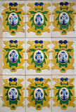 Antique 17th century  tiles. Antique dutch tiles 17th century from Russian prince Dmitry's house in the city of Uglich, Russia Stock Photo