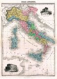 Antique 1870 Map of Ancient Italy Stock Photos