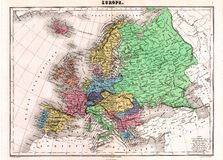 Antique 1870 Map of Europe Royalty Free Stock Photos