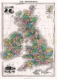 Antique 1870 Map of Great Britain and Ireland Stock Photography